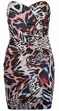 Lipsy UK 12 Alure Asymmetric Embellished Jewel Corset Bodycon Dress Animal Print