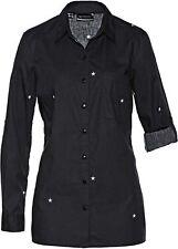 Bluse Sterne Gr. 36 schwarz weiß Longbluse langarm Business Baumwolle