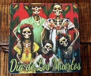 """Drink Coasters 4"""", Set of 4, Day of the Dead, Family, Black Rubber Back"""
