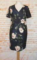 Dorothy Perkins shift dress size 12 short sleeve mini v-neck black floral print