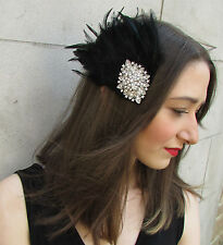 Black & Silver Feather Fascinator Headpiece Races Diamante Hair Clip Vintage Y83