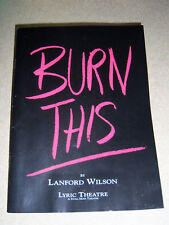 BURN THIS program from Lyric Theatre, London, 1990, starring John Malkovich