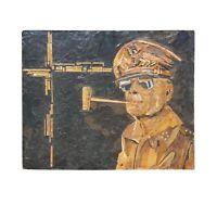 Mid Century GENERAL DOUGLAS MACARTHUR MIXED MEDIA WALL HANGING ~ UNIQUE FOLK ART