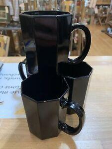 Set of 4 Arcoroc Octogon Black Amethyst Octime Mugs