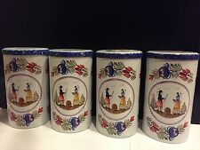 Set Of 4 Massily France Quimper Illustration Tin Can