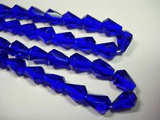25 Cobalt Blue Czech Glass Faceted Bell Teardrop Beads 9x7mm