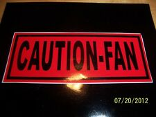 "1.5""X 4"" CAUTION FAN Sticker (NEW Black & Red VINYL) for Vintage Vehicle"