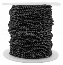 Ball Chain Spool - 100 Feet - Dark Black Color - 1.5mm Ball - 30 Meters Bulk