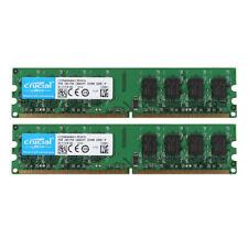 Crucial 4GB 2X 2GB PC2-5300U DDR2 667MHz 2RX8 Desktop Memory Intel RAM DIMM @ST
