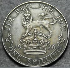 Great Britain Shilling, 1926 Silver~Lion On Top Of Crown~Free Shipping