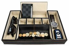 Valet Deluxe Leather Storage Jewelry Box Tray Organizer For Dresser Top Watch