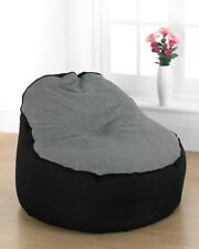 Large Bean Bag Filled Lounger Chair Gaming Chair Rounded Piped Edges Grey/Black