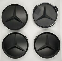 4x Mercedes Benz Matt Black Alloy Wheel Centre Caps 75mm AMG Fits A B C E Class