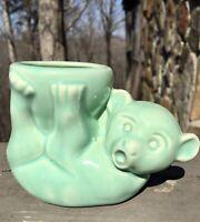 """Vintage Brush McCoy Bear Planter Blue Green Color,3""""ht. 4""""wide,1940's"""