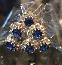 6 Wedding Prom Crystal Diamante Dark blue stone  Flower Hair Pins Clips Grips