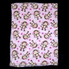 "Baby Gear Pink Monkey Blanket Small Flowers Security Lovey 30x40"""