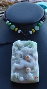 Certified Green Burma Natural A Jade jadeite pendant Dragon Spit Pearl 龙 610158