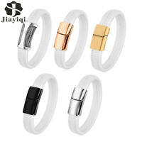 JYQ Men White Leather Braided Bracelet Bangle Stainless Steel Bangle