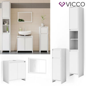 VICCO Badmöbel Set EMMA Weiß - Spiegel Waschtischunterschrank Midi Hoch Schrank