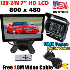 "12V-24V RV Truck Trailer  7"" HD TFT LCD Rear View Monitor +Vehicle Backup Camera"