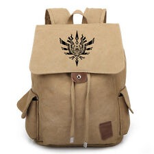 Vintage Anime Monster Hunter Canvas Backpack Casual Bag Hiking Laptop Rucksack