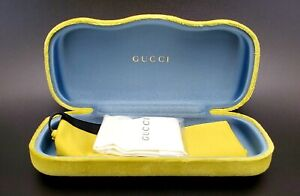 NEW GUCCI CASE YELLOW VELVET CLAMSHELL EYEGLASSES WITH DUST BAG AND CLOTH