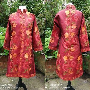Fiery Red Embroidered Hand-Made Silk Boho Hippy Kashmiri Style Long Jacket