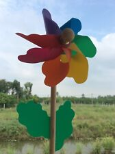 Wood Colorful Wind Spinner Ground Stake Outdoor Yard Garden Decoration.
