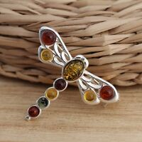 Multicolour Baltic Amber 925 Sterling Silver Dragonfly Brooch Pin Jewellery