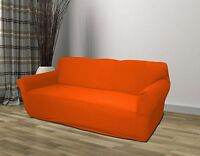 ORANGE JERSEY SOFA STRETCH SLIPCOVER, COUCH COVER, FURNITURE SOFA, KASHI HOME