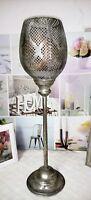 Windlicht  Kerzenhalter Silber  Shabby Landhaus Vintage Chic 13x50cm