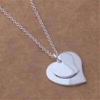 *UK Shop* 925 SILVER PLT DOUBLE LOVE HEART PENDANT NECKLACE TWO LADIES JOINED