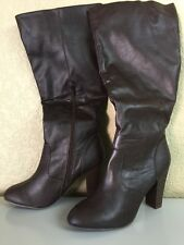Womens Brown High Heels Boots Size 9