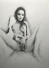 Female nude drawing ORIGINAL graphite ink Art Realism Naked Woman NO RESERVE