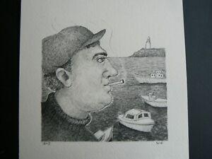"Natsuo Ikegami ""Fisherman"" Orig. Pen & Ink--Handsigned"