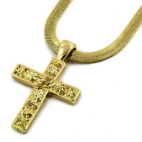 "Mens 14K Gold Plated Tiny Nugget Cross Pendant HipHop 4mm/24"" Herringbone Chain"