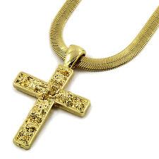 "Mens 14K Gold Plated Tiny Nugget Cross Pendant HipHop 4mm/24"" Herringbone Chain"