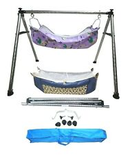 Folding Steel Cradle Round Pipe with two cotton hammock with mosquito net KTR31