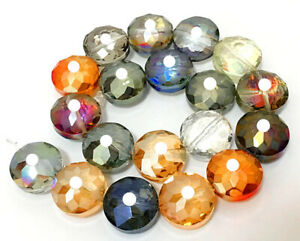 14mm Faceted Pretty AB Multi-color Crystal Quartz Coin Loose Beads 12pcs