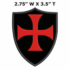 Knight Templar Cross Medieval Coat of Arms Embroidered Patch Hook Backing