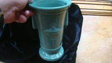 Vintage Pottery Vase Early McCoy? Shawnee? Art Deco Beaded Design Green numbered