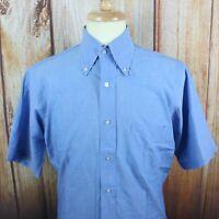 Men's Cable Car Clothiers Sanforized Blue Button Shirt 15 Medium Vintage S/S