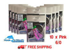 10 Snapper Rigs Flasher Fishing Rig  Paternoster 60lb 6/0 Hooks Mulloway Pink #