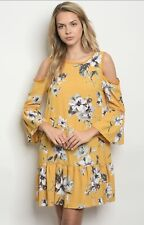 NWT Medium Women's Mustard Floral Tunic Dress Summer Boutique Top