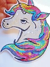 Extra Large Sequin Patches Licorne Patch applique fer sur Sew Sur Motif badge UK