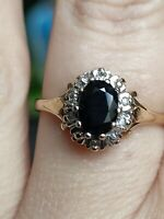 Vtg Natural Dark blue sapphire & Diamond ring solid yellow 9ct gold  size N 7