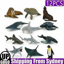 12PCS Kids Small Plastic Figures Wild Ocean Animal Dolphin Shark Toys Gifts AU
