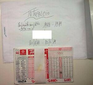 SCHEDINE TOTOCALCIO-CAMPIONATO COMPLETO DA 1 A 33  ANNO 1988/89