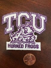"""TCU Texas Christian Horned Frogs Vintage Embroidered Iron On Patch 3"""" X 2.5"""""""