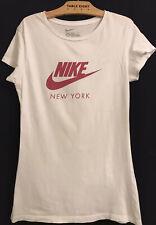L NIKE Slim Fit White Plum Swoosh Graphic + Defects Pic 3-4 Shirt T-Shirt Top